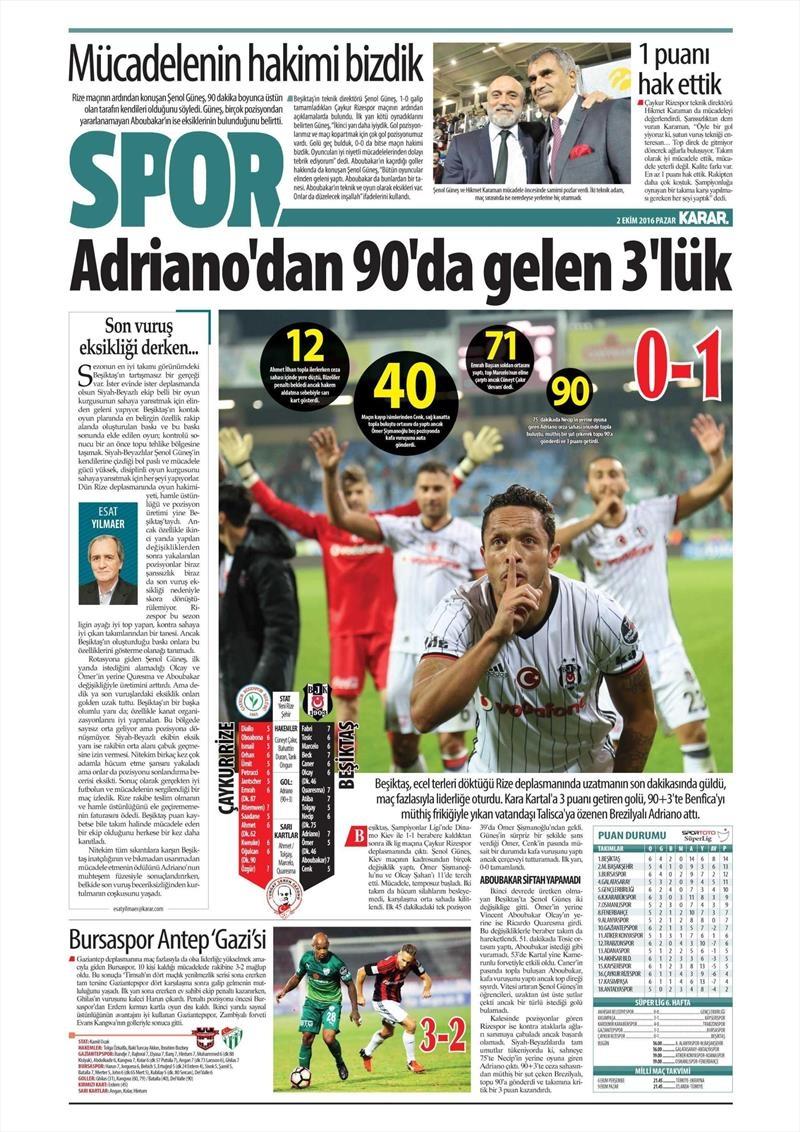 2 Ekim 2016 | Beşiktaş sayfaları 13