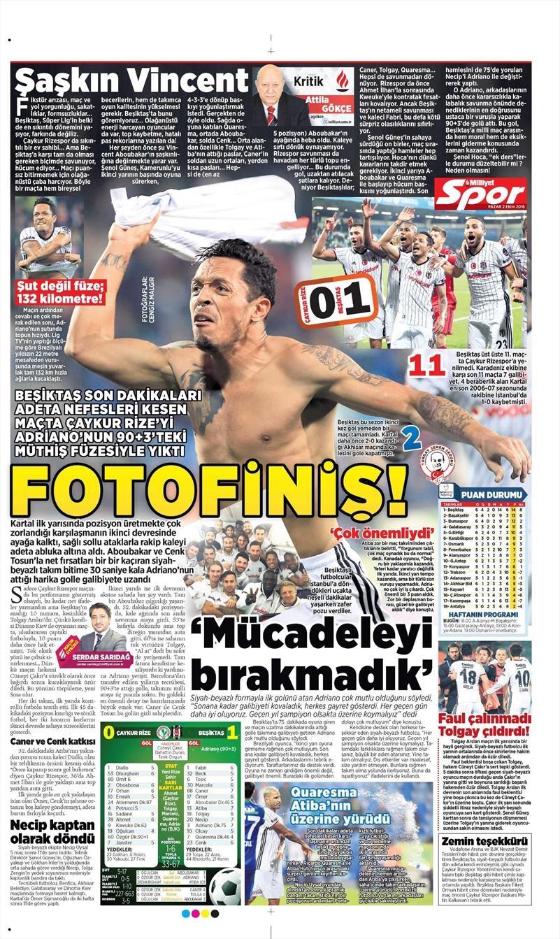 2 Ekim 2016 | Beşiktaş sayfaları 14