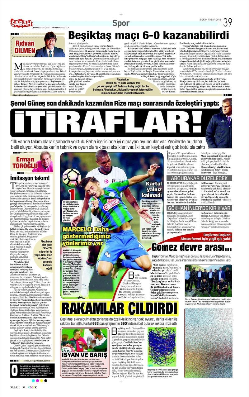 2 Ekim 2016 | Beşiktaş sayfaları 18