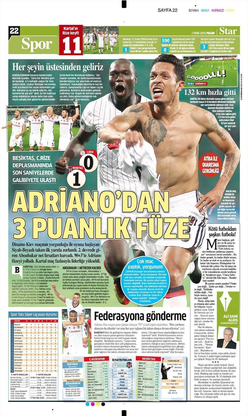 2 Ekim 2016 | Beşiktaş sayfaları 19