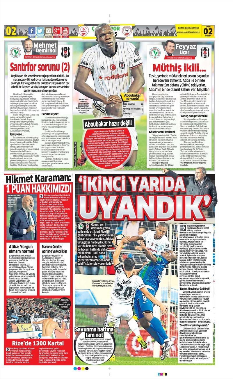 2 Ekim 2016 | Beşiktaş sayfaları 2