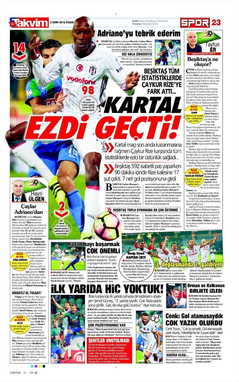 2 Ekim 2016 | Beşiktaş sayfaları 21