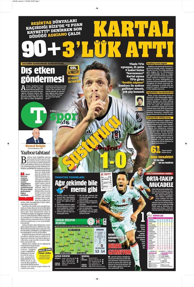 2 Ekim 2016 | Beşiktaş sayfaları 22
