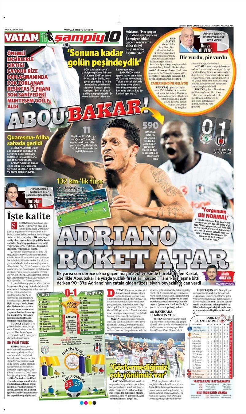 2 Ekim 2016 | Beşiktaş sayfaları 24