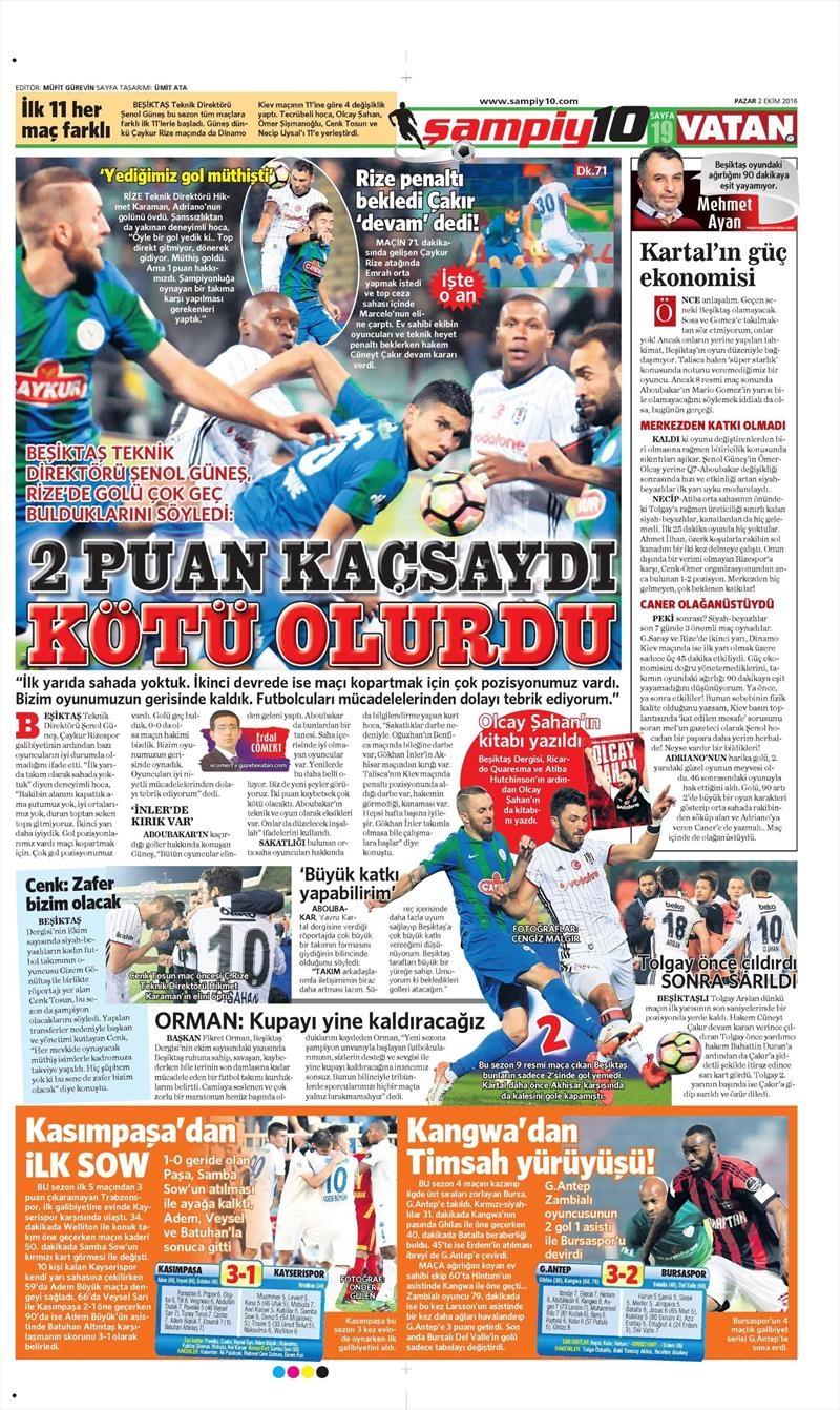 2 Ekim 2016 | Beşiktaş sayfaları 25