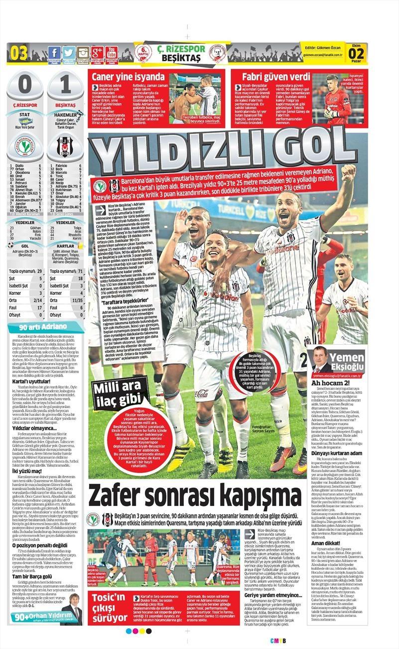 2 Ekim 2016 | Beşiktaş sayfaları 3