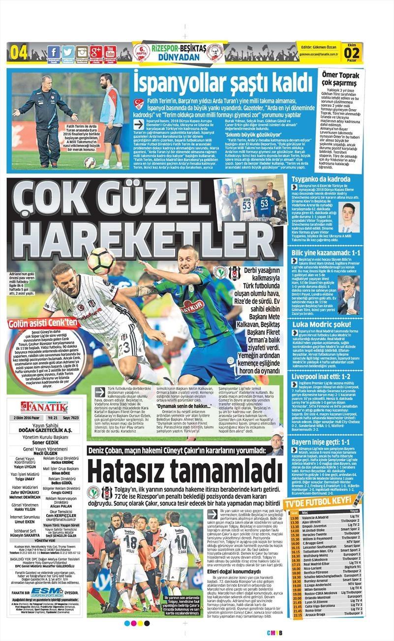 2 Ekim 2016 | Beşiktaş sayfaları 4