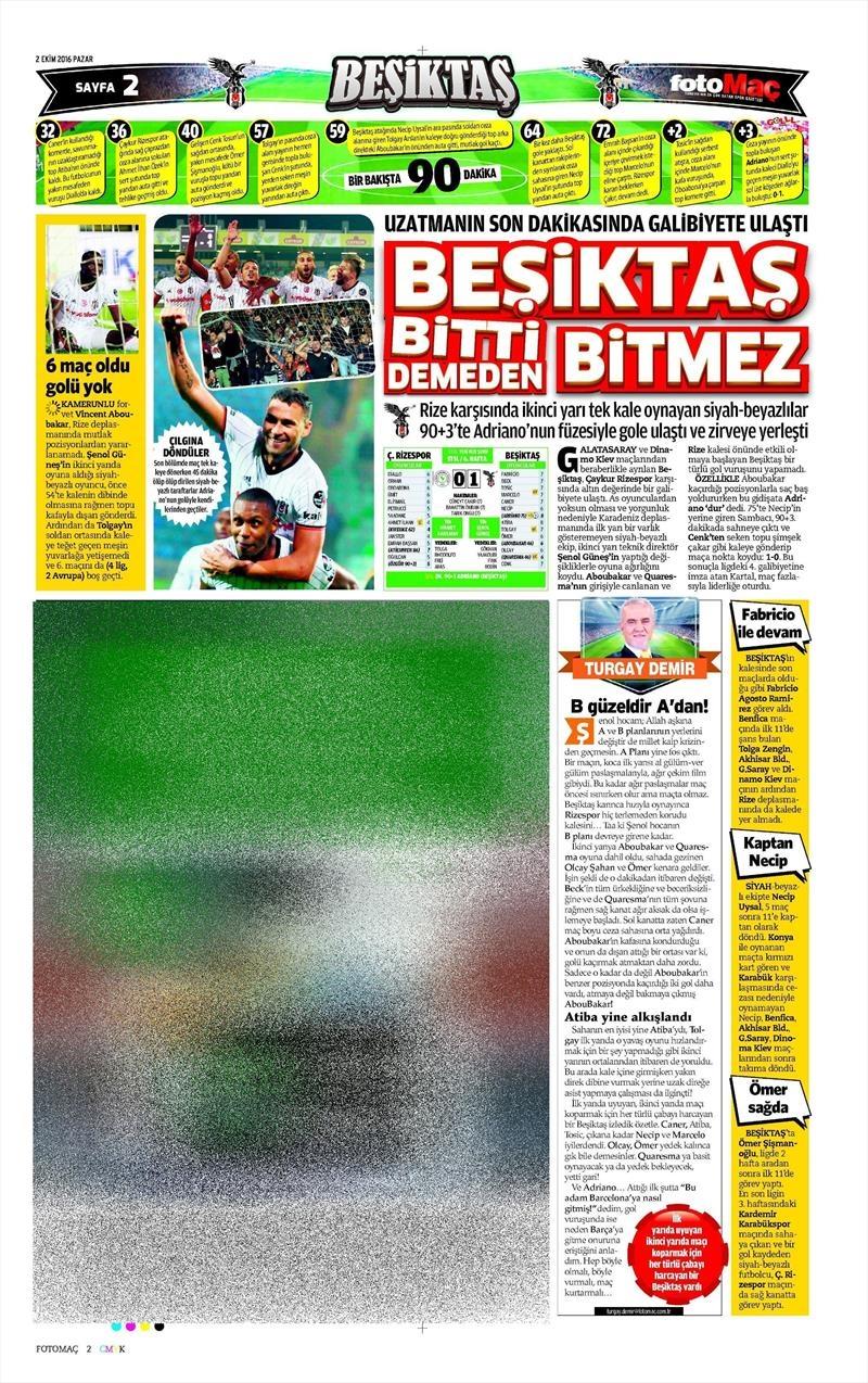 2 Ekim 2016 | Beşiktaş sayfaları 6