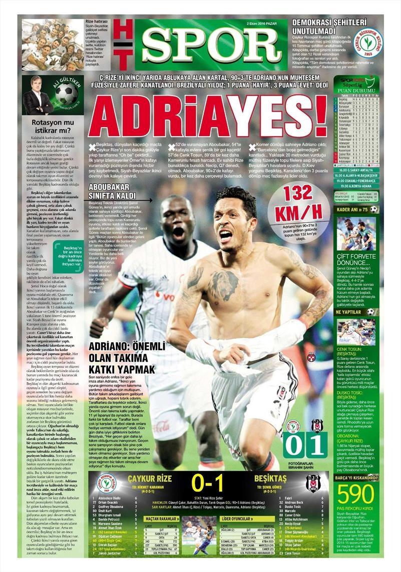 2 Ekim 2016 | Beşiktaş sayfaları 9