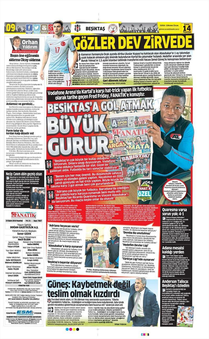14 Kasım 2016 | Gazetelerin Beşiktaş sayfaları 1