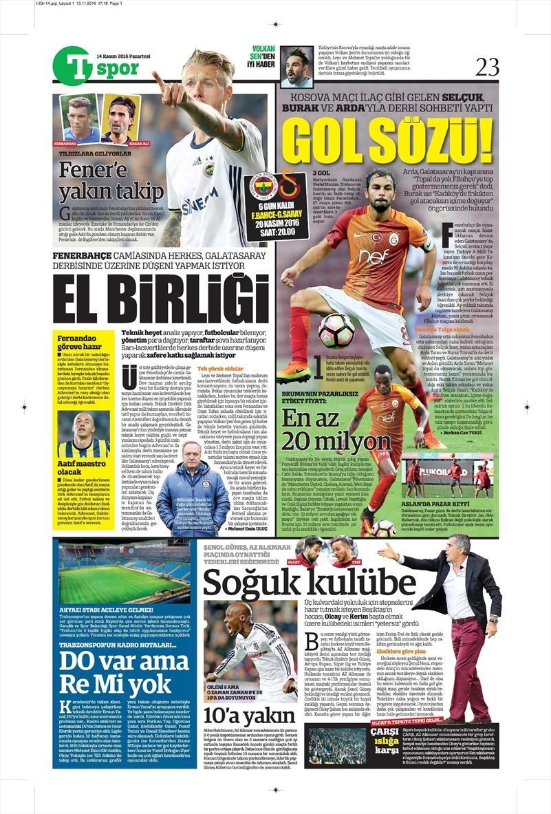 14 Kasım 2016 | Gazetelerin Beşiktaş sayfaları 10
