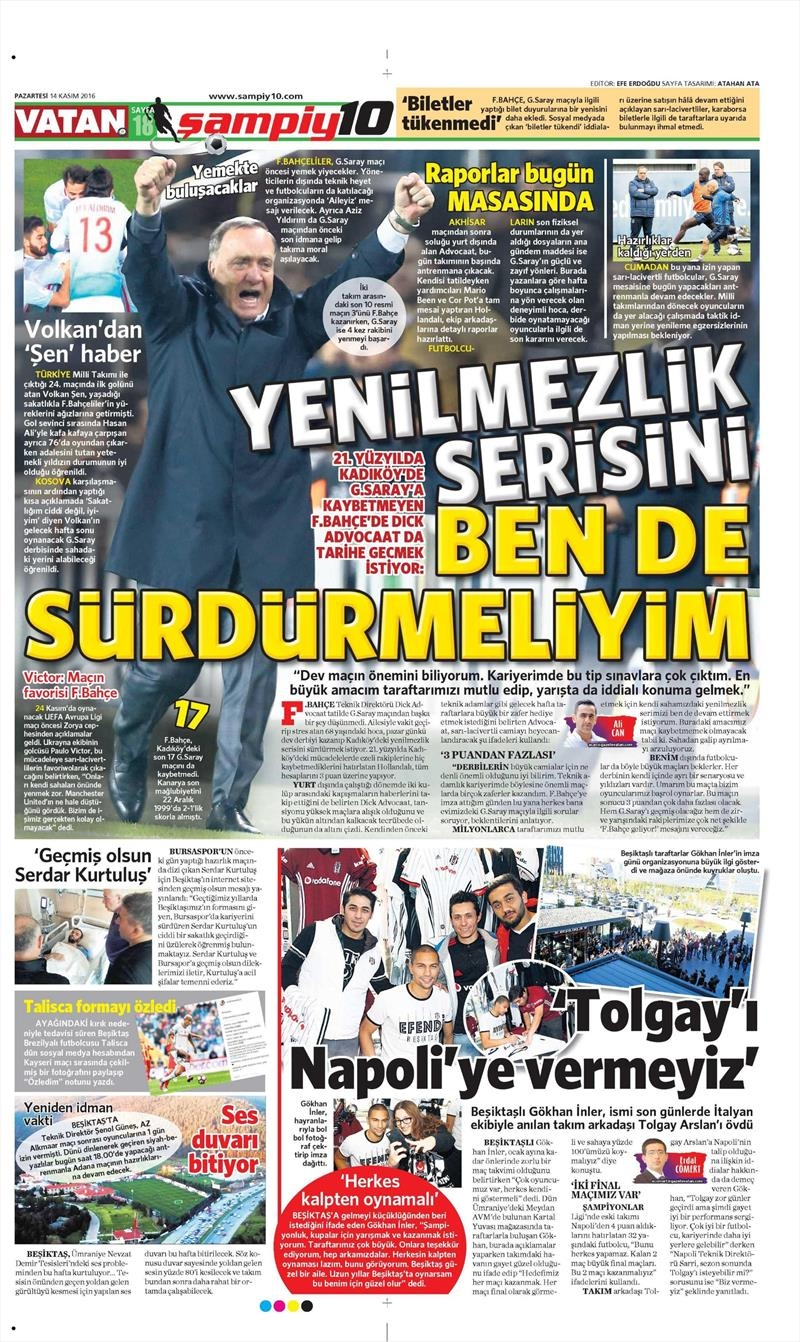 14 Kasım 2016 | Gazetelerin Beşiktaş sayfaları 11