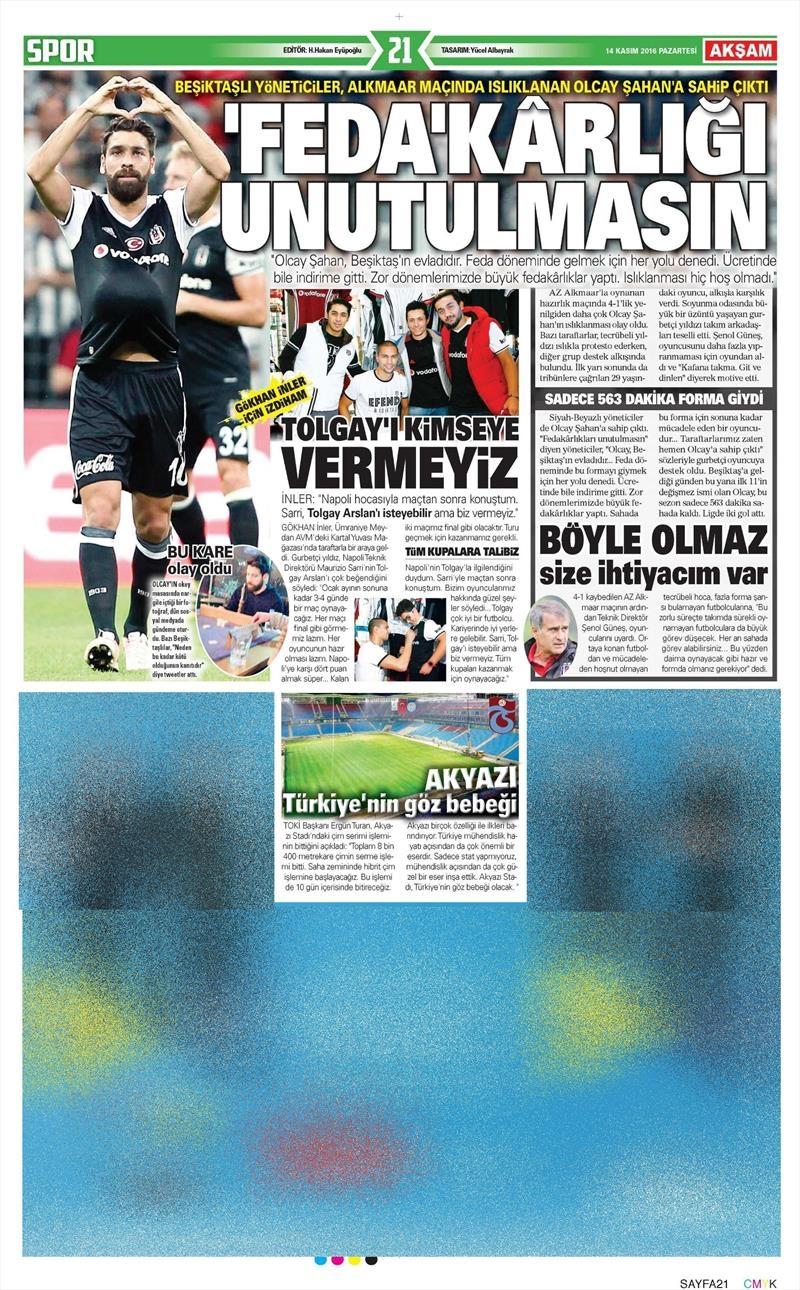 14 Kasım 2016 | Gazetelerin Beşiktaş sayfaları 2
