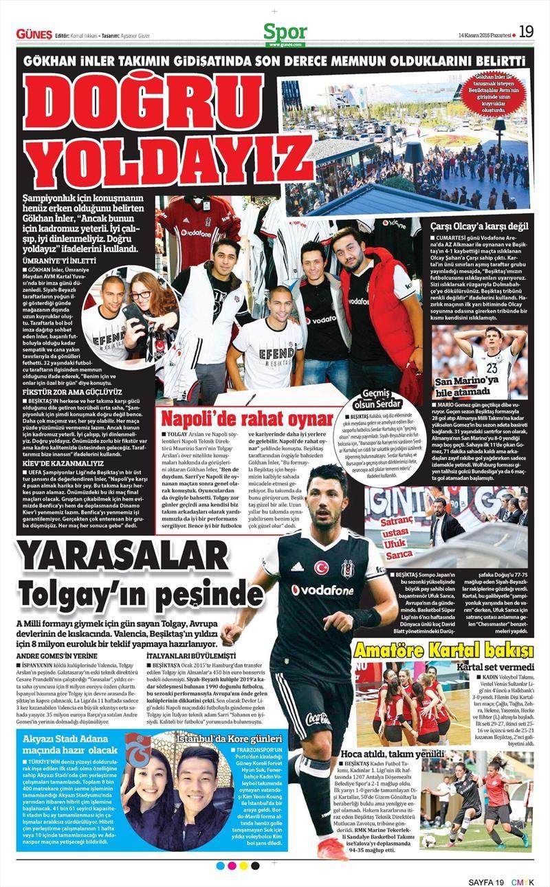14 Kasım 2016 | Gazetelerin Beşiktaş sayfaları 3