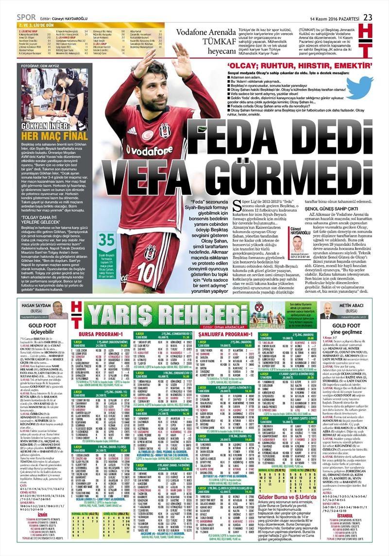 14 Kasım 2016 | Gazetelerin Beşiktaş sayfaları 4