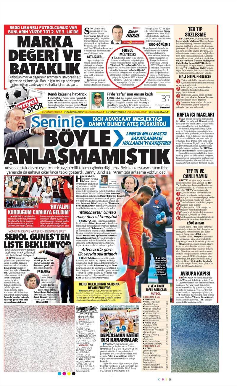 14 Kasım 2016 | Gazetelerin Beşiktaş sayfaları 5