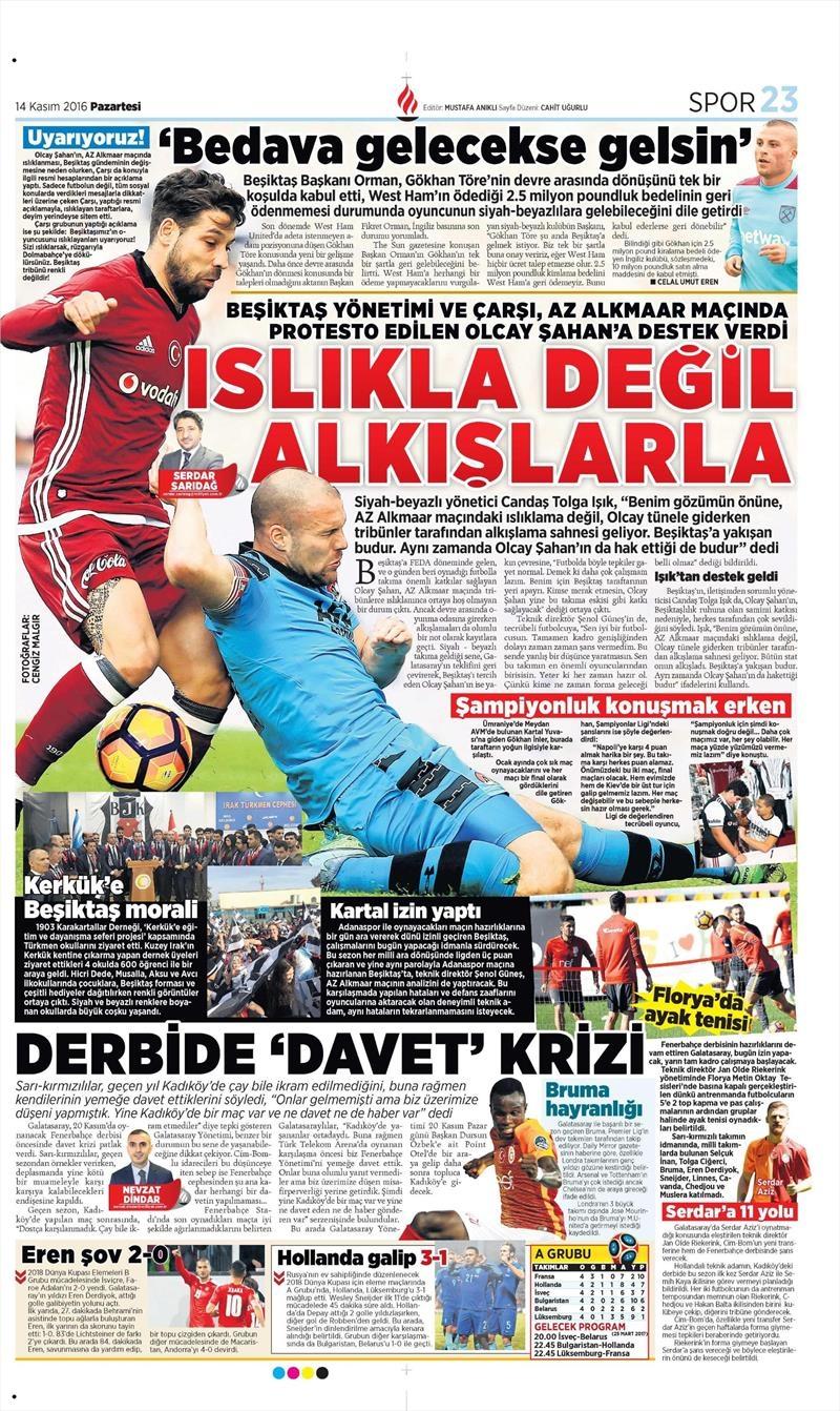 14 Kasım 2016 | Gazetelerin Beşiktaş sayfaları 6
