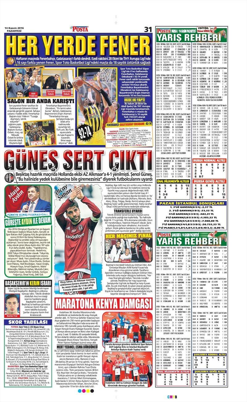 14 Kasım 2016   Gazetelerin Beşiktaş sayfaları 7