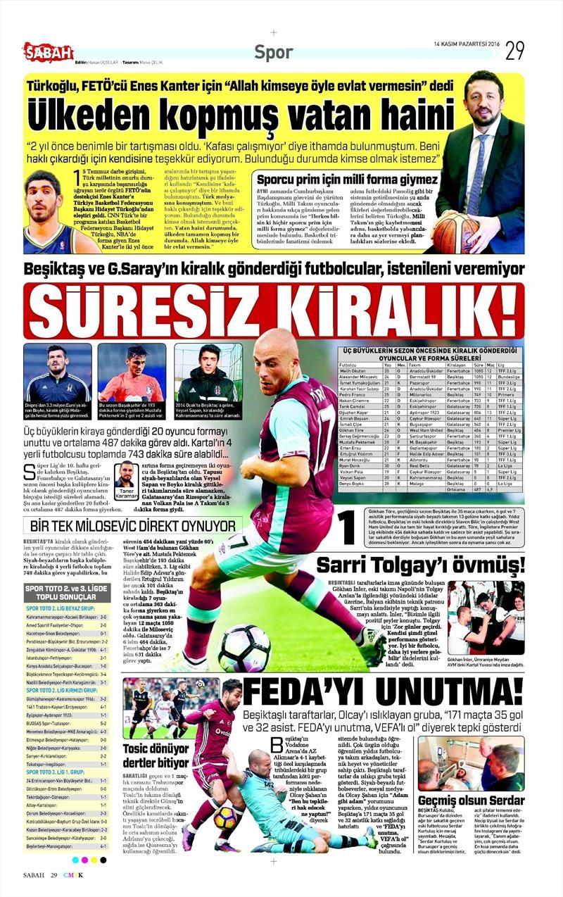 14 Kasım 2016 | Gazetelerin Beşiktaş sayfaları 8