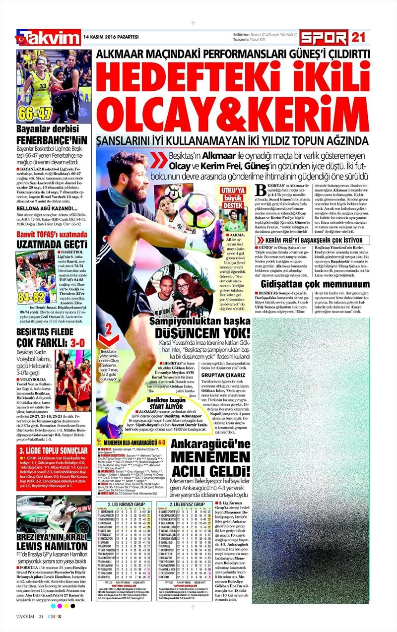 14 Kasım 2016 | Gazetelerin Beşiktaş sayfaları 9