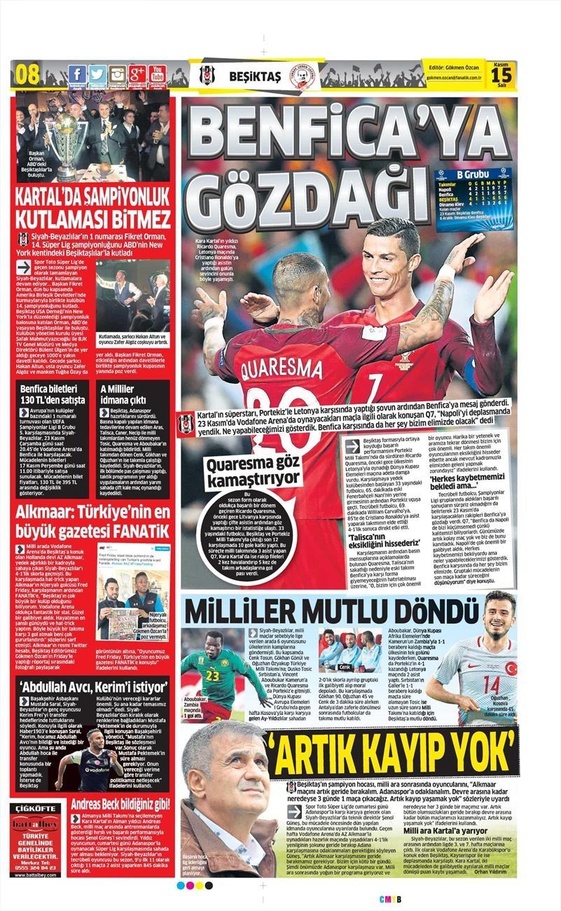 15 Kasım 2016 | Gazetelerin Beşiktaş sayfaları 1