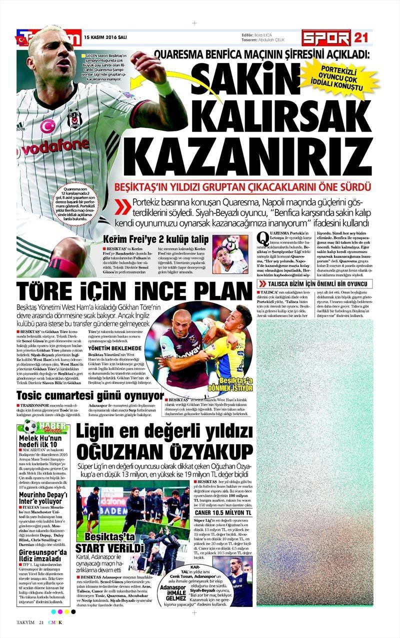 15 Kasım 2016 | Gazetelerin Beşiktaş sayfaları 10