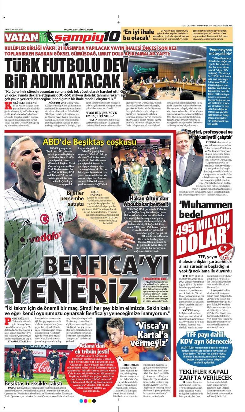 15 Kasım 2016 | Gazetelerin Beşiktaş sayfaları 11