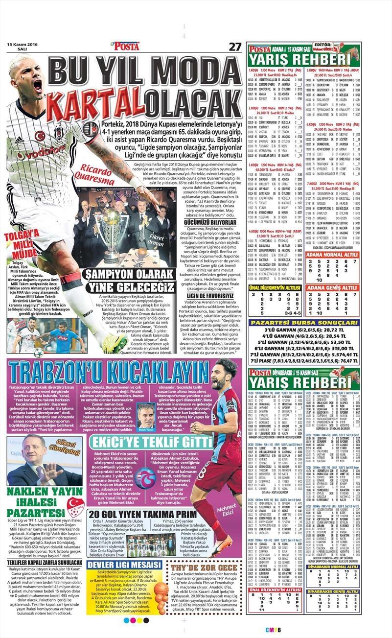 15 Kasım 2016 | Gazetelerin Beşiktaş sayfaları 12