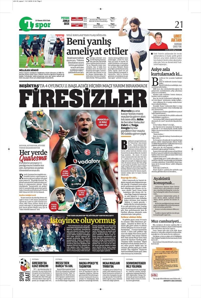 15 Kasım 2016 | Gazetelerin Beşiktaş sayfaları 13