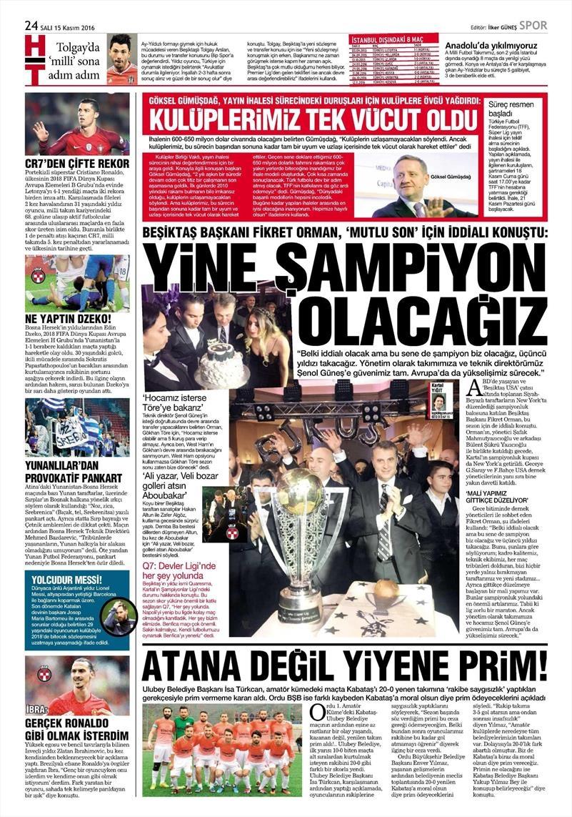 15 Kasım 2016 | Gazetelerin Beşiktaş sayfaları 2