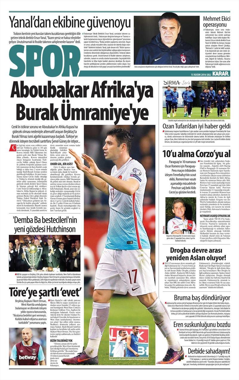 15 Kasım 2016 | Gazetelerin Beşiktaş sayfaları 4