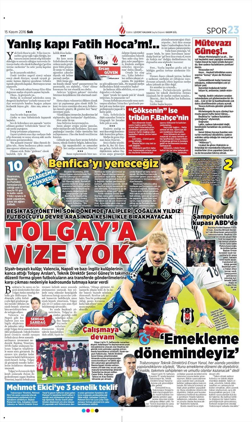 15 Kasım 2016 | Gazetelerin Beşiktaş sayfaları 6
