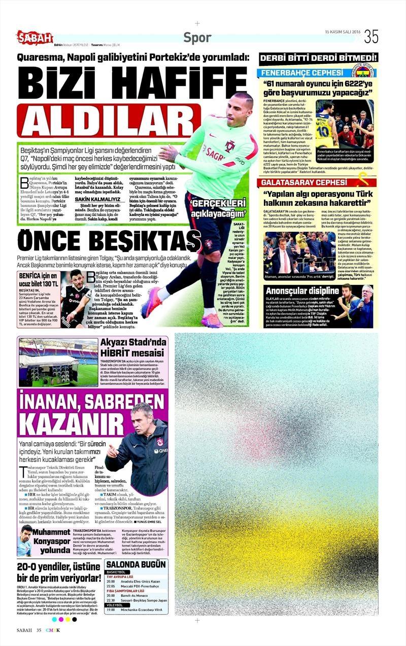 15 Kasım 2016 | Gazetelerin Beşiktaş sayfaları 8