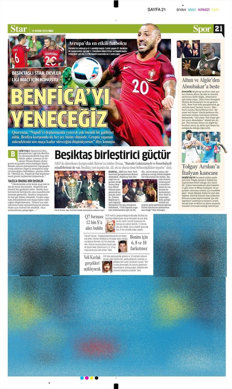15 Kasım 2016 | Gazetelerin Beşiktaş sayfaları 9