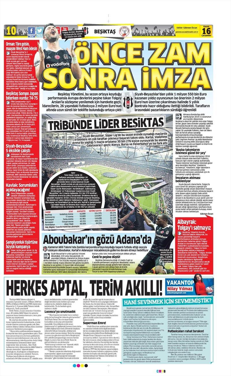 16 Kasım 2016   Gazetelerin Beşiktaş sayfaları 10