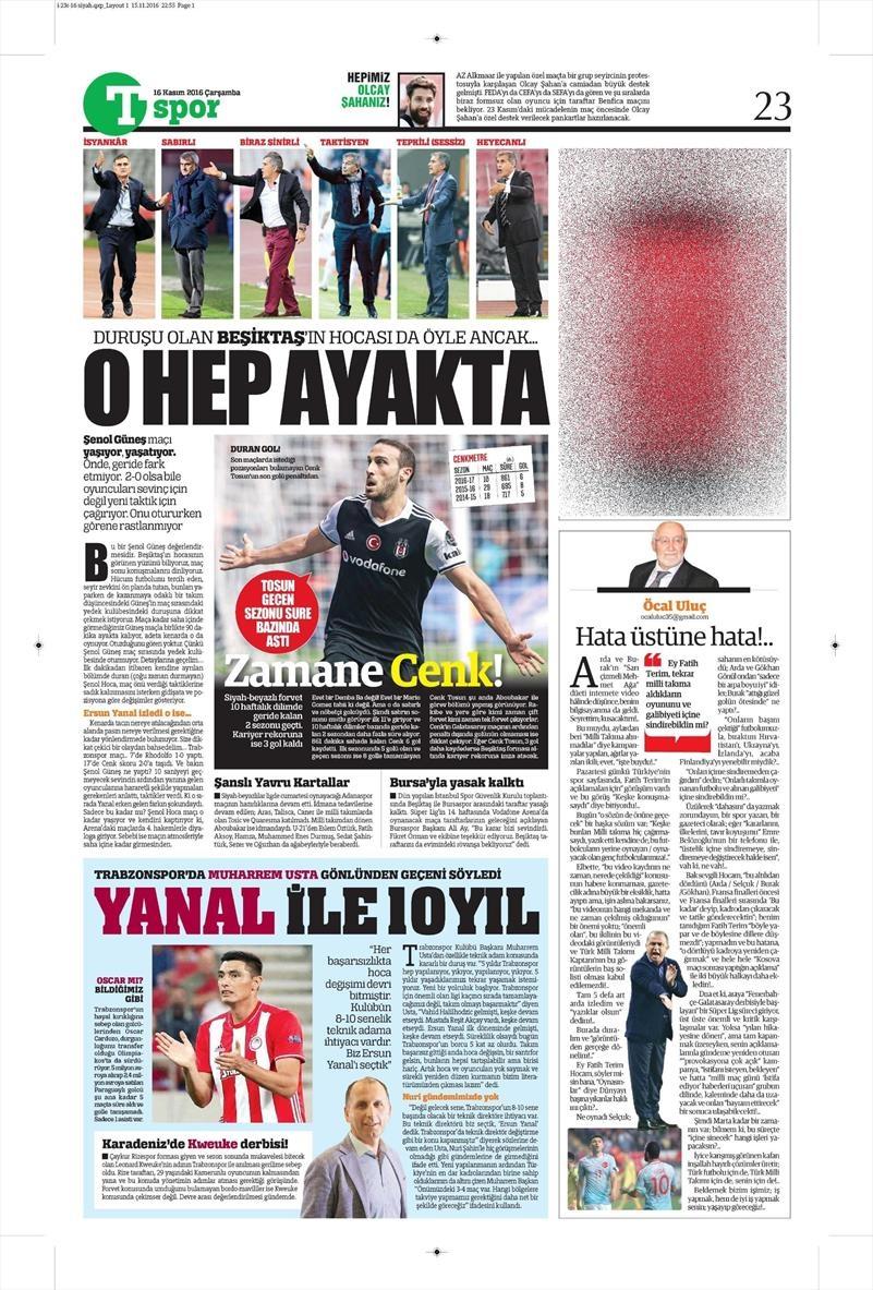 16 Kasım 2016   Gazetelerin Beşiktaş sayfaları 2