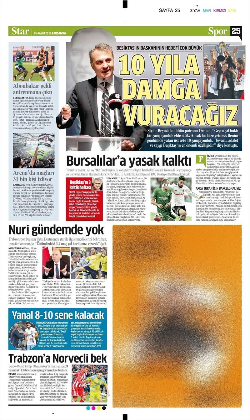 16 Kasım 2016 | Gazetelerin Beşiktaş sayfaları 3