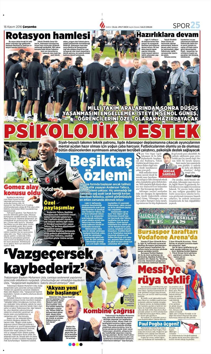 16 Kasım 2016 | Gazetelerin Beşiktaş sayfaları 6