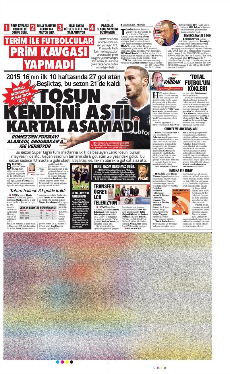 16 Kasım 2016 | Gazetelerin Beşiktaş sayfaları 7