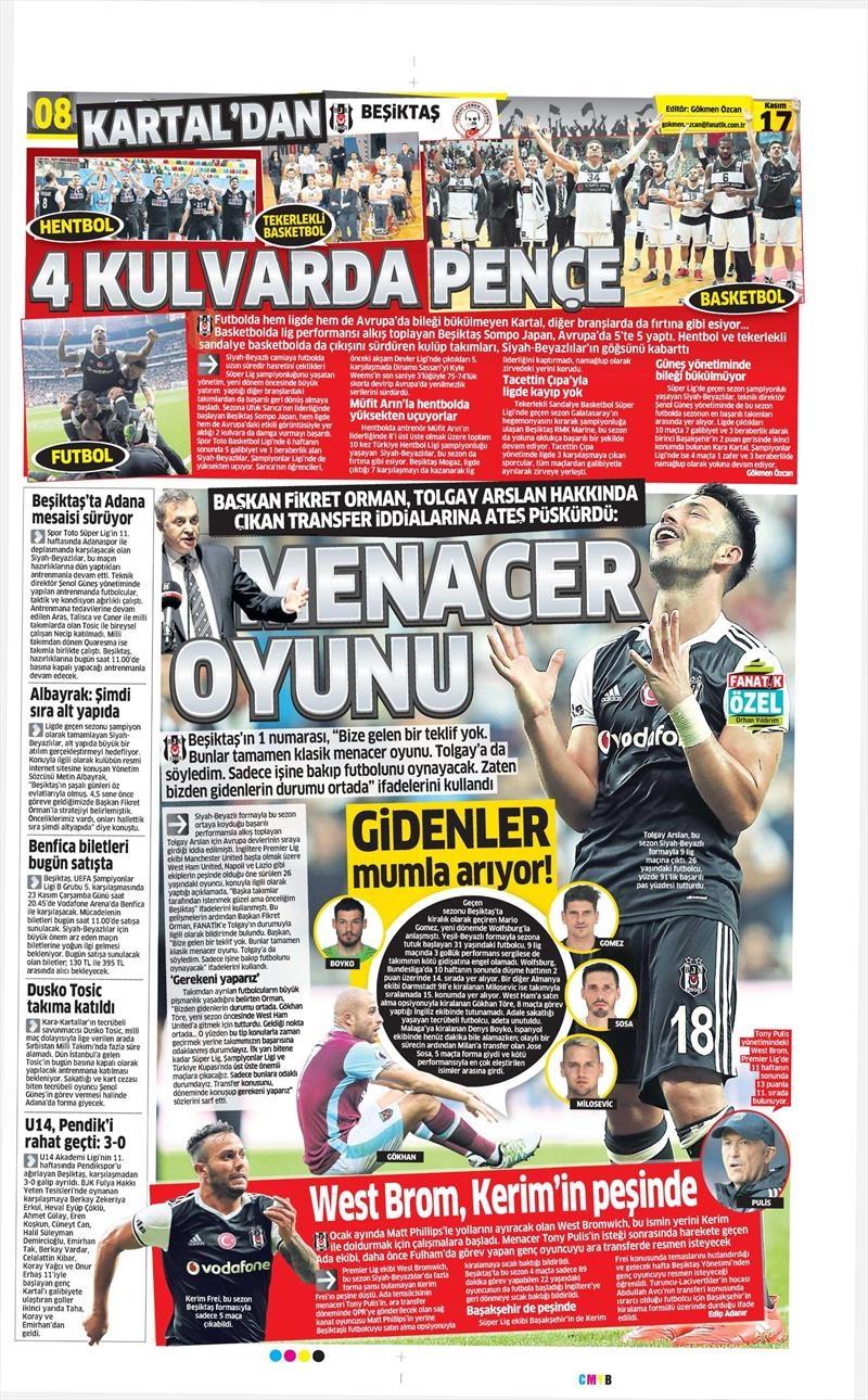17 Kasım 2016   Gazetelerin Beşiktaş sayfaları 1