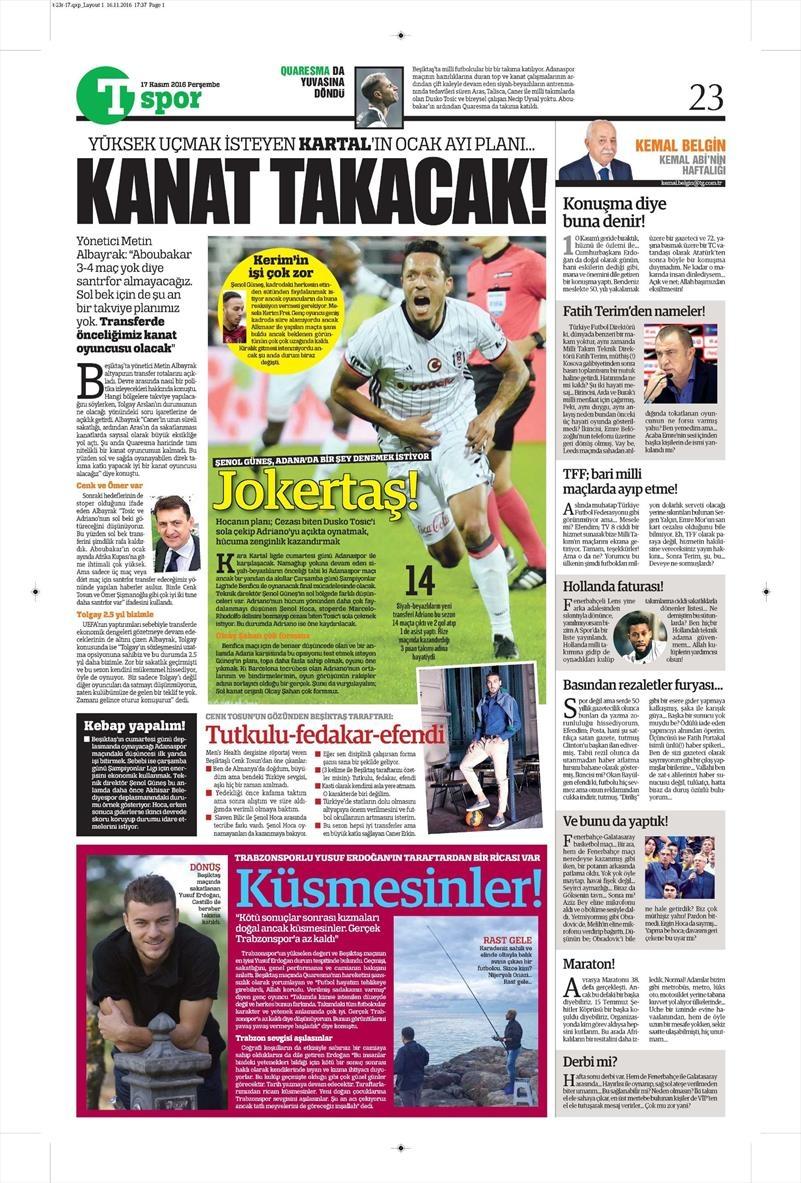 17 Kasım 2016 | Gazetelerin Beşiktaş sayfaları 10