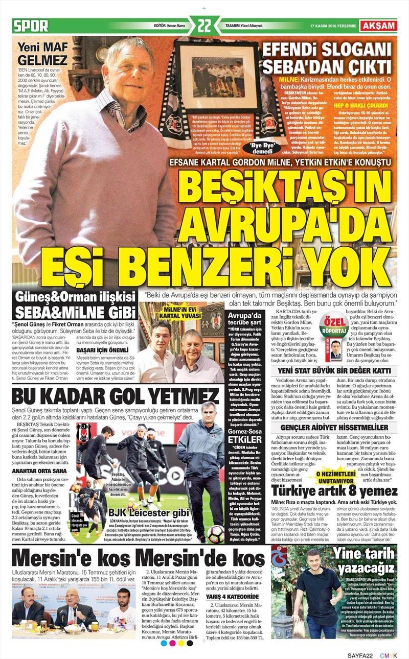 17 Kasım 2016 | Gazetelerin Beşiktaş sayfaları 2