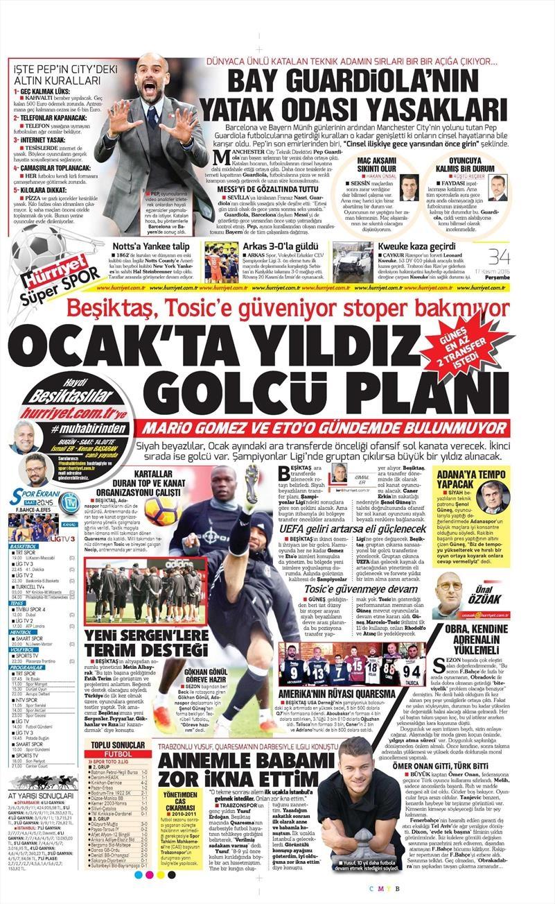 17 Kasım 2016 | Gazetelerin Beşiktaş sayfaları 4
