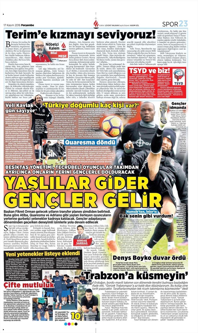 17 Kasım 2016 | Gazetelerin Beşiktaş sayfaları 5