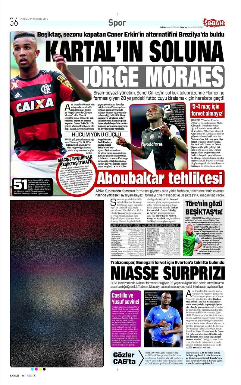 17 Kasım 2016 | Gazetelerin Beşiktaş sayfaları 6