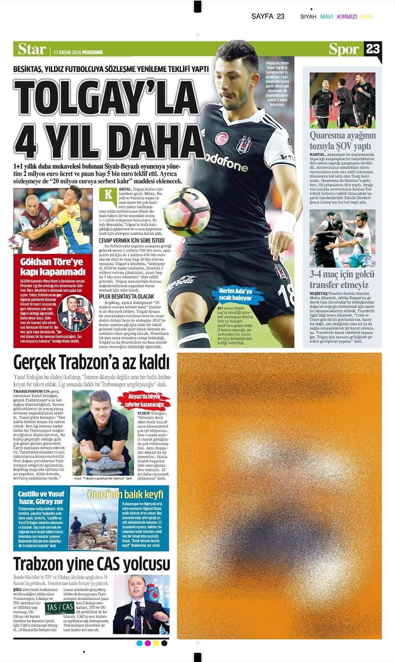 17 Kasım 2016 | Gazetelerin Beşiktaş sayfaları 8