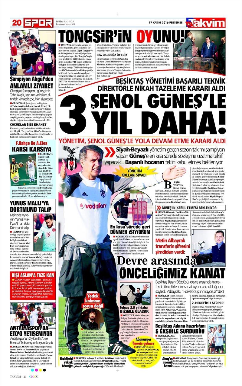 17 Kasım 2016   Gazetelerin Beşiktaş sayfaları 9