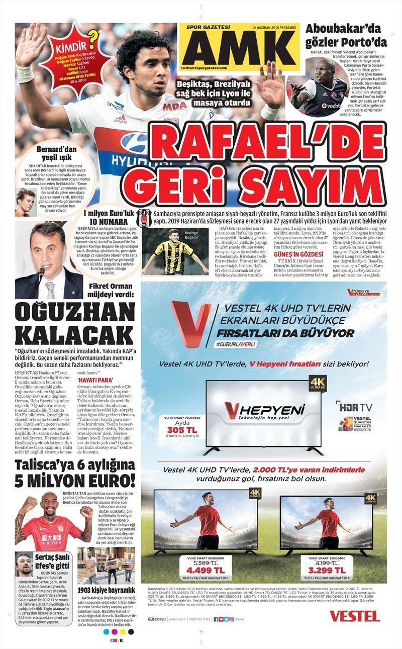 14 Haziran 2018 | Gazetelerin Beşiktaş Manşetleri 1