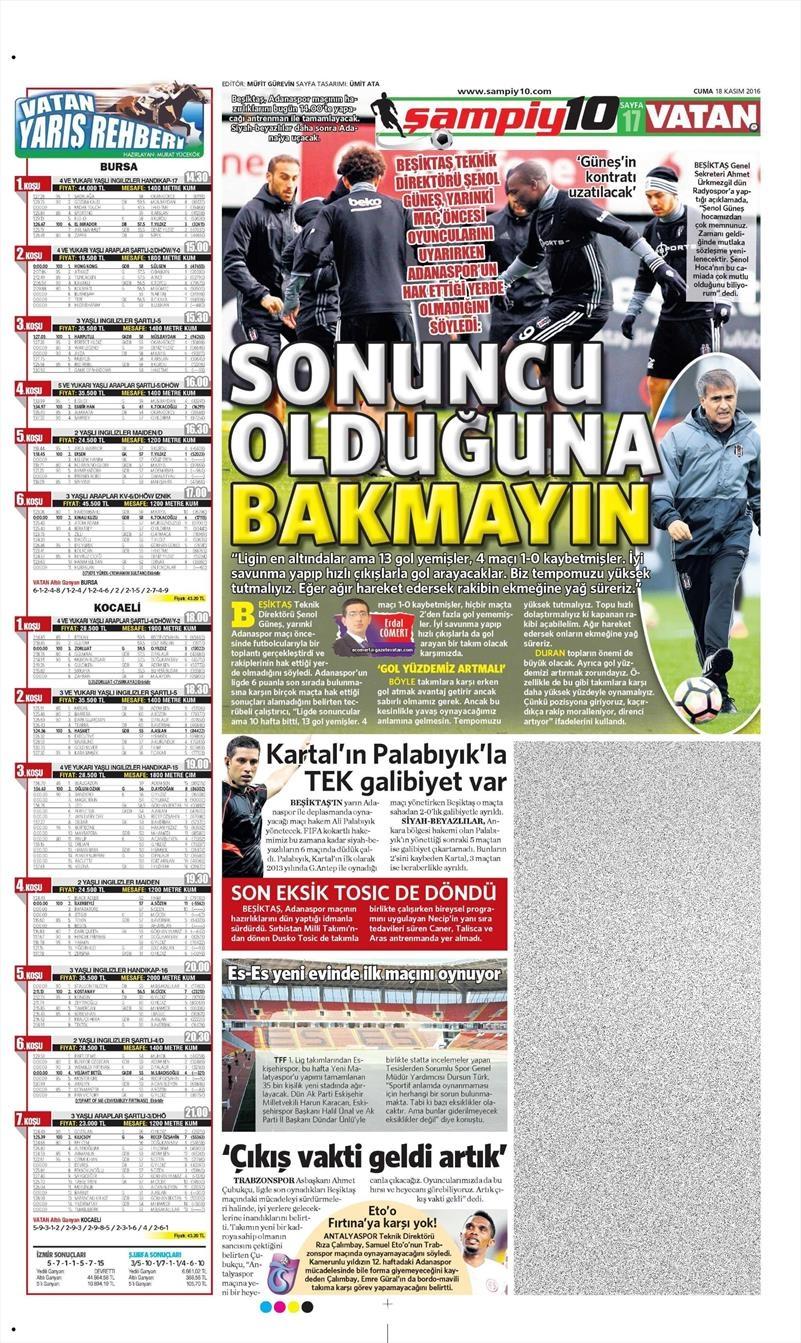18 Kasım 2016 | Gazetelerin Beşiktaş sayfaları 1