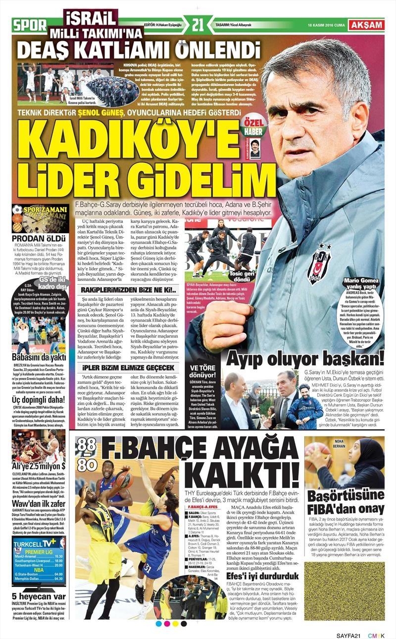 18 Kasım 2016 | Gazetelerin Beşiktaş sayfaları 10